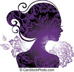 bello, fiori, donna, silhouette