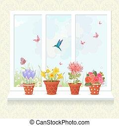 bello, fiori, piantato, in, ceramica, otri, su, uno, davanzale, per, tuo