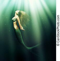 bello, fish, donna, coda, sirena