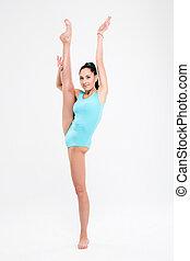 bello, flessibile, ragazza, ginnasta
