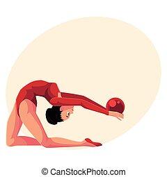 bello, flessibile, ragazza, in, leotard, fare, ginnastiche ritmiche, con, palla
