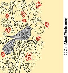 bello, floreale, astratto, uccello, fondo