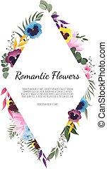 bello, floreale, cornice, vettore, illustrazione, geometrico