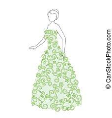 bello, floreale, donna, vestire