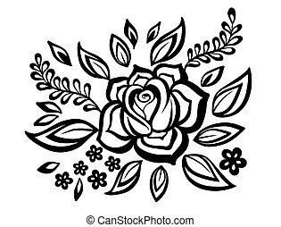 bello, floreale, element., nero-e-bianco, fiori, e, foglie, disegnare elemento, con, imitazione, guipure, embroidery.