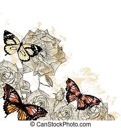 bello, floreale, fondo, con, farfalle, e, rose