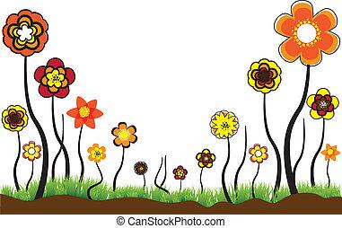bello, floreale, illustrazione, di, stagionale, fiori, in,...