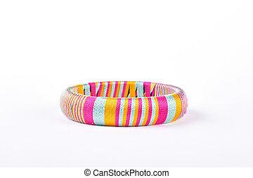 bello, fondo., bianco, braccialetto, colorito