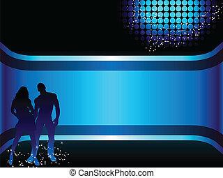 bello, fondo., coppia, silhouette, grunge