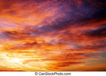 bello, fondo, sky., cielo, tramonto, infocato, arancia