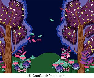 bello, foresta, notte