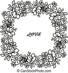bello, frame., folla, amore, vettore, disegno, floreale, scheda