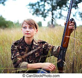 bello, fucile caccia, ragazza, giovane