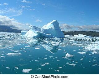 bello, fusione, estate, costa, day., iceberg, groenlandia