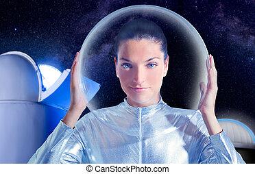 bello, futuro, donna, astronauta, osservatorio