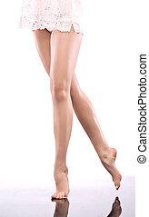 bello, gambe, donna