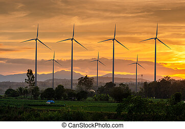 bello, generation., potere, fattoria, energia, eco, zona cielo, ecologico, verde, tailandia, turbina, vento