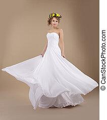 bello, ghirlanda, fidanzata, volare, matrimonio, primaverile, fiori, vestire