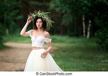 bello, ghirlanda, sposa, fiori bianchi, vestire