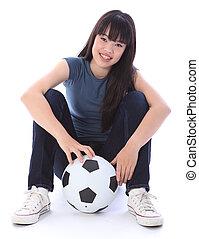 bello, giapponese, adolescente, studente, ragazza, calcio