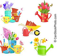 bello, giardinaggio, primavera, collezione, equipments, disegno, mazzolini, tuo