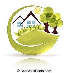 bello, giardino, casa, albero, verde, mette foglie, icona, disegno, splendore