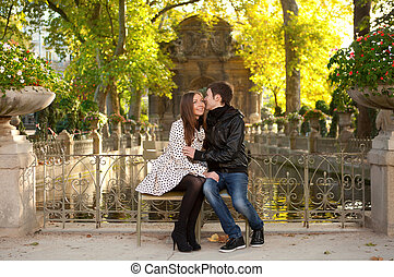 bello, giardino, coppia, parigi, lussemburgo, giovane, fall., francia