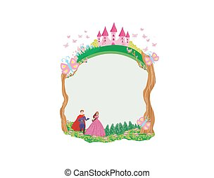 bello, giardino, cornice, -, principessa, principe