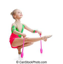 bello, ginnasta, sopra, esercizi, bianco, ragazza