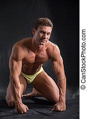 bello, ginocchia, suo, adattare, esposizione, corpo, giovane, muscolare, nudo, uomo