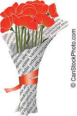 bello, giornale, rosso, illustrazione, papaveri