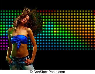 bello, giovane, ballo, in, il, locale notturno