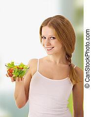 bello, giovane, con, verdura, vegetariano, insalata