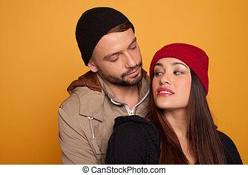 bello, giovane coppia, amore