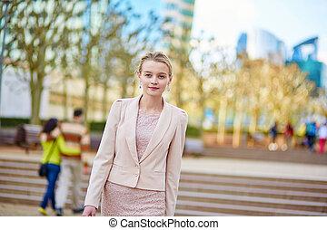 bello, giovane, donna affari