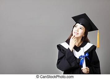 bello, giovane, laureato, presa a terra, diploma, e, pensare