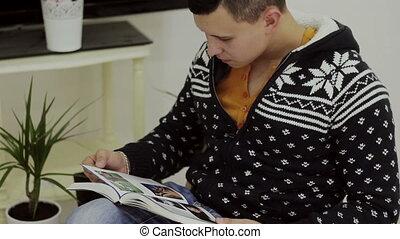 bello, giovane, lettura libro