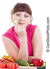 bello, giovane ragazza, con, verdura