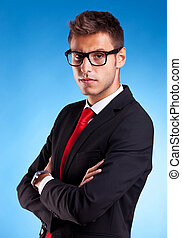 bello, giovane, uomo affari