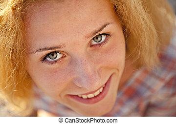 bello, girl., primo piano, biondo, ritratto