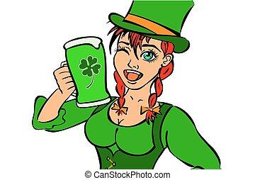 bello, gnomo, ragazza, con, birra chiara