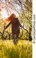 bello, godere, donna, sano, outdoor., parco, giovane, nature., ragazza sorridente
