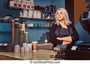 bello, grembiule, caffè, con esperienza, barista, shop., braccia, standing, attraversato, femmina