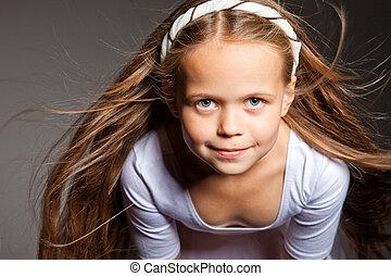 bello, grigio, capelli lunghi, biondo, ragazza