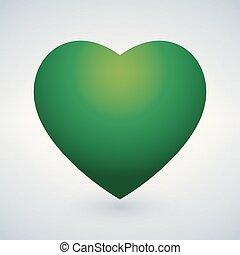 bello, heart., illustrazione, realistico, vettore, verde