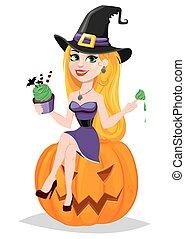 bello, il portare, mangiare, card., seduta, signora, halloween, augurio, pellegrino, strega, zucca, cappello, cake.