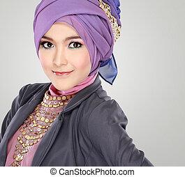 bello, il portare, ritratto donna, hijab