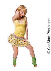 bello, il portare, sfondo giallo, vestito bianco, ...