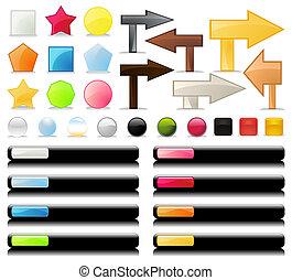 bello, illustrazione, bottoni, vettore, collezione, internet.