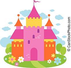 bello, illustrazione, racconto, vettore, fata, castle.